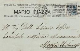 5753.   Mario Piazza - Premiata Fonderia Artistica Industriale - Milano - Commerciale - 1922 Per Moggio Udinese Udine - Commercio