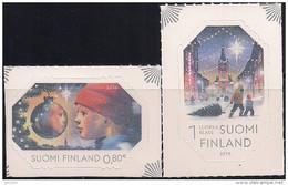2015 Finnland Mi.  2411-12**MNH Weihnachten In Der Stadt. Odr. Mit Holographischem Lacküberzug; Selbstklebend