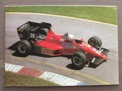 Cartolina R. Arnoux Ferrari F1 Con Annullo Sul Retro Trofeo Enzo Ferrari Int. Giov. Calcio Maranello 1-4-1991 - Grand Prix / F1