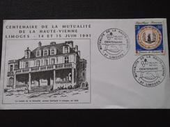 LIMOGES (Haute-Vienne) - Enveloppe CENTENAIRE De La MUTUALITE De La HAUTE-VIENNE - 14 Et Juin 1991 - 2,30+0,60 - FDC