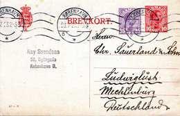 DÄNEMARK 1923 - 10+15 Öre Ganzsache Auf Pk Gel.von Kobenhavn Nach Mecklenburg - Briefe U. Dokumente