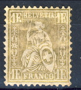 Svizzera 1862 N. 41 F. 1 Oro MH Cat. € 28 - 1862-1881 Helvetia Seduta (dentellati)