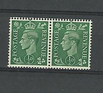1937 - 47  N° 209a  X 2 SE-TENANT  K COUCHEE    GEORGES VI  NEUF ** GOMME 2 SCANNE - Unused Stamps