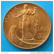 Regno - Vittorio Emanuele III 100 Lire 1931 IX ORO GOLD - 1861-1946 : Royaume
