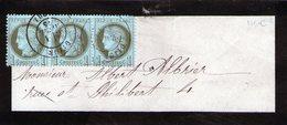 FRANCE 1c. Vert-olive (N°50) BANDE De 3  Sur Bande Complete Oblitération DIJON 1 AVRIL 1875 - 1849-1876: Classic Period
