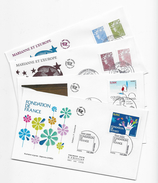 """Enveloppes  1er Jour FDC 2009  4 """"Marianne Et L'Europe,Fondation De France,Conseil Constitutionnel - 2000-2009"""