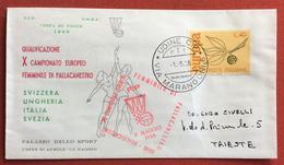 PALLACANESTRO FEMMINILE  BUSTA   N. 256  QUALIFICAZIONE CAMPIONATO EUROPEO UDINE 1966 PER TRIESTE IL 1/5/66 - Volleyball