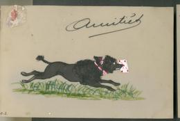 Carte Rhodoïd  -   Amitiés  (Chien Apportant Une Lettre En Courant) - Fantaisies