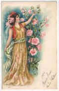 Femme Et Fleurs - Gaufrée - Embossed - Nouvel An 1904 - 1900-1949