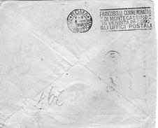 1929 LETTERA CON ANNULLO ROMA + TARGHETTA FRANCOBOLLI COMMEMORATIVI DI MONTECASSINO - Storia Postale