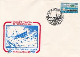 54129- SS CHELYUSKIN POLAR SHIP EXPEDITION ANNIVERSARY, SINKING, SPECIAL COVER, 1984, ROMANIA - Polar Ships & Icebreakers
