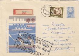 54301- CANOE, REGISTERED COVER STATIONERY, 1968, ROMANIA