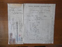MAUBEUGE LEMESTREZ & VATIN MERCERIE BONNETTERIE CHAUSSURES 4 RUE GIPPUS FACTURE ET TRAITE DU 15 FEVRIER 1929 TIMBRES FIS - France