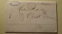 Rives Isere Lettre Taxee 6 Pour Crest Drome 1848 - Marcophilie (Lettres)