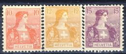 Svizzera 1907 N. 116-118 MH Cat. € 8 - Svizzera