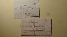 Lot De Lettres Taxees 7 Et 8  P Paris Pour Crest 1818 - Storia Postale