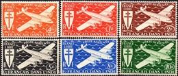 Inde N° PA  1 à 6 ** Avion, Lockheed Constellation, Survolant La Mer, Série De Londres - India (1892-1954)