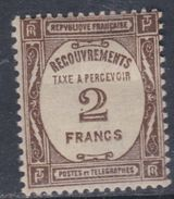 France Taxe N° 62 XX  Taxe à Percevoir : 2 F. Sépia Sans  Charnière Sinon TB - Taxes