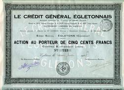 ACTION....TITRE.19..CORREZE..LE CREDIT GENERAL EGLETONNAIS....ACTION DE 500fr - Banca & Assicurazione