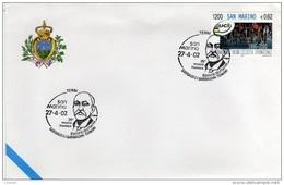 S. Marino 2002 Mostra Garibaldi E I Garibaldini Ternani Edoardo Barberini Garibaldino Annullo Terni - Ohne Zuordnung