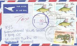 Zimbawe 1994 Selbus Hunyani Salmon Fresh Water Fish Underfranked Taxed Cover - Zimbabwe (1980-...)