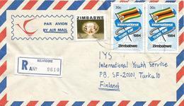 Zimbawe 1984 Belvedere Trade Fair Flag Morganite Mineral Registered Cover - Zimbabwe (1980-...)