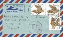 Zimbawe 1991 Glenningra Small-spotted Genet Cat Underfranked Taxed Cover - Zimbabwe (1980-...)