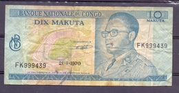 Congo  Ex Belgian Kongo  10 Makuta 1970 Mobutu - Billets