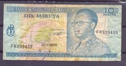 Congo  Ex Belgian Kongo  10 Makuta 1970 Mobutu - Bankbiljetten