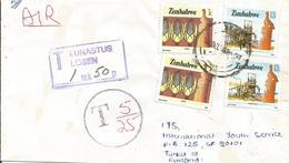 Zimbawe 1987 Glenningra Maize Stamp Mill Underfranked Taxed Cover Finland - Zimbabwe (1980-...)