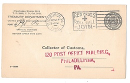 Treasury Dept Customs Service Offical Business Penalty Card Pittsburgh 1925 Red Cross Slogan Cancel - Officials