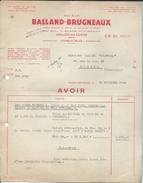 Facture Ets  Balland Brugneaux Combustibles à Chalon Sur Saone Le 29/11/1952 - Autres