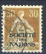 Svizzera Servizio 1922 Societé De Nations N. 22 C. 30 Bistro E Verde Usato Cat. € 22 - Servizio