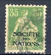 Svizzera Servizio 1922 Societé De Nations N. 23 C. 35 Verde E Giallo Usato Cat. € 15 - Servizio