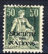Svizzera Servizio 1922 Societé De Nations N. 25 C. 50 Verde E Verde Chiaro Usato Cat. € 18 - Servizio