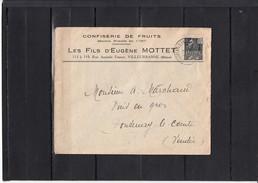 """Lettre De VILLEUBANNE  Pour FONTENAY LE COMTE Vendee  Entete Pub """" CONFISERIE DE FRUITS  """" Expo Col 15c Gris Noir - France"""