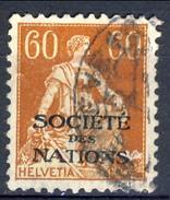 Svizzera Servizio 1922 Societé De Nations N. 26 C. 60 Giallo Bruno Usato Cat. € 2,10 - Servizio
