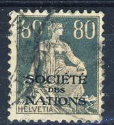 Svizzera Servizio 1922 Societé De Nations N. 27 C. 80 Grigio Ardesia Usato Cat. € 6.60 - Servizio