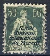 Svizzera Servizio 1923 Bureau International Du Travail N. 39 C. 50 Verde Usato Cat. € 6.25 - Servizio