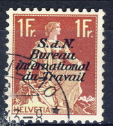 Svizzera Servizio 1923 Bureau International Du Travail N. 42 F. 1 Carminio E Oliva Usato Cat. € 3.50 - Servizio
