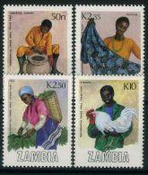 ZAMBIE ( POSTE) : Y&T N°  437/440  TIMBRES  NEUFS  SANS  TRACE  DE  CHARNIERE , A  VOIR . - Zambia (1965-...)