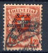 Svizzera Servizio 1924-27 Bureau International Du Travail N. 73 F. 1.20 Vinaccia E Rosso Usato Cat. € 7 - Servizio