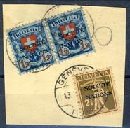 Svizzera Servizio 1924-37 Societé De Nations Frammento Con N. 46 E Coppia N. 59 F. 1,50 Azzurro E Rosso Cat. € 55 - Servizio