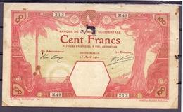 AOF  Grand Bassam  100 Fr 15 Avril 1920 - États D'Afrique De L'Ouest