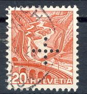 Svizzera Servizio 1937 Croce Perforata N. 136A C. 20 Rosso Usato Cat. € 27 - Servizio