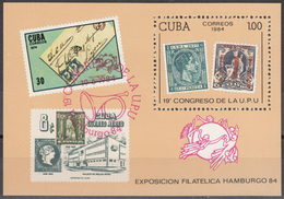 CUBA 1984, WORLD POSTAL CONGRESS In HAMBURG, COMPLETE MNH BLOCK, GOOD QUALITY, *** - Unused Stamps