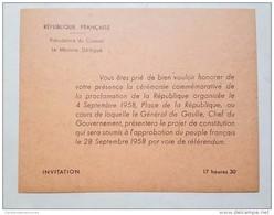 Carte D'Invitation Général De Gaulle Cérémonie Commémorative Proclamation De La République - Documents