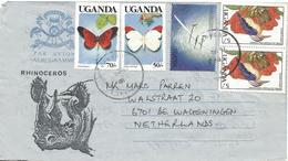Uganda 1990 Kampala African Pygmy Kingfisher World Flight Record Butterfly Colotis Acraea Aerogramme - Oeganda (1962-...)
