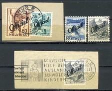 Svizzera Servizio 1942 Officiel Frammenti Con N. 186, 191, 195, 193 Usati Cat. € 10 - Servizio