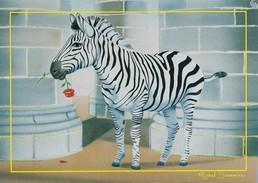 Le Zèbre Et La Rose - Carte Michel Saunier édit Univers Particule 78 Le Chesnay - Zebras